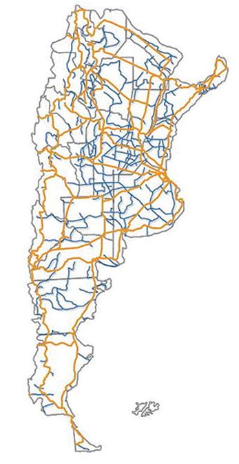 30 mil kilómetros de conexiones troncales en azul y otros 30 mil de conexiones provinciales. Fuente: www.argentinaconectada.gov.ar
