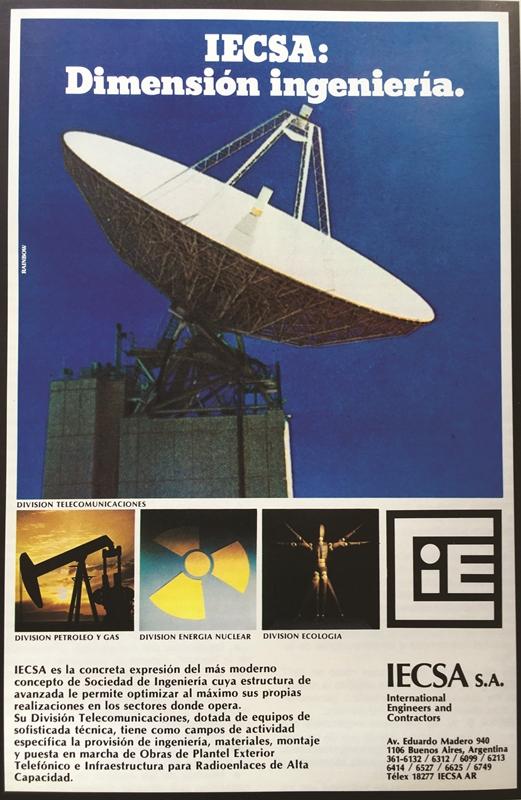 Presentación de IECSA S.A., contratista de plantel exterior de ENTel de 1976 a 1989, perteneciente al GRupo Macri. Fuente: ENTel, 1981.